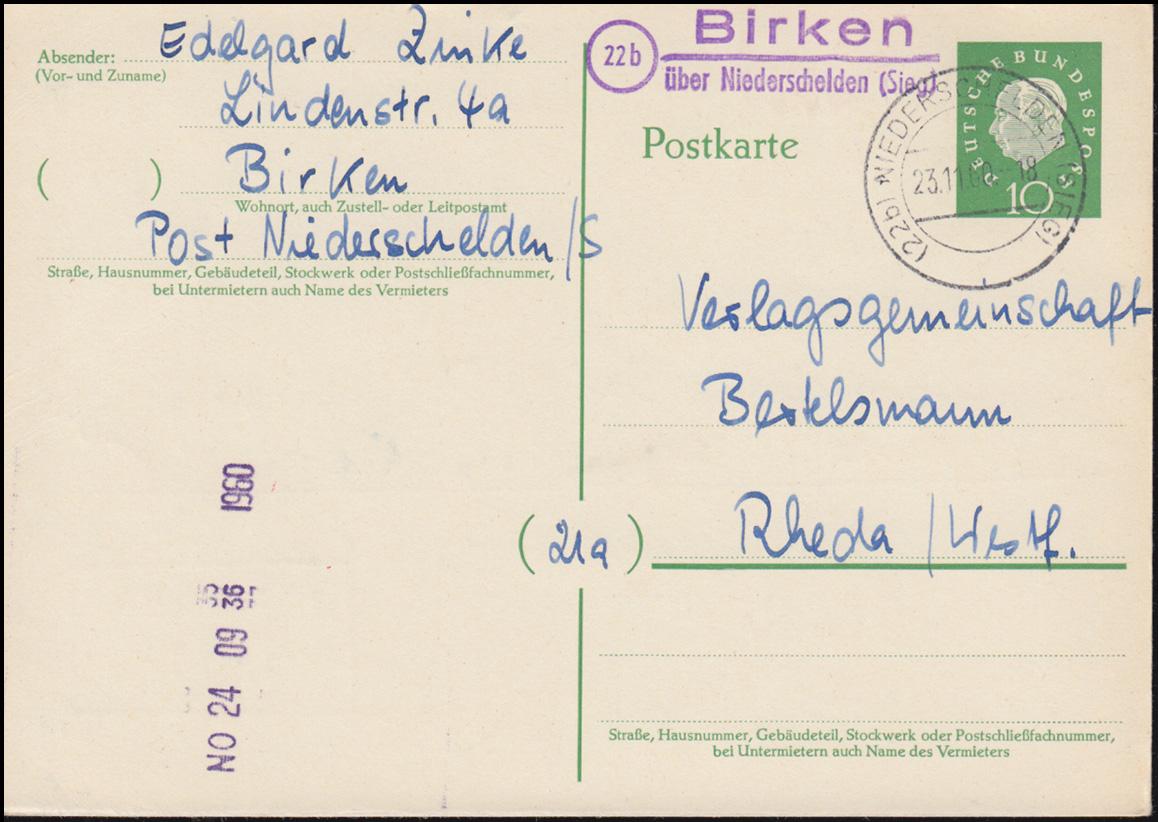 Landpost Birken über NIEDERSCHELTEN (SIEG) 23.11.1960 auf Postkarte nach Rheda 0