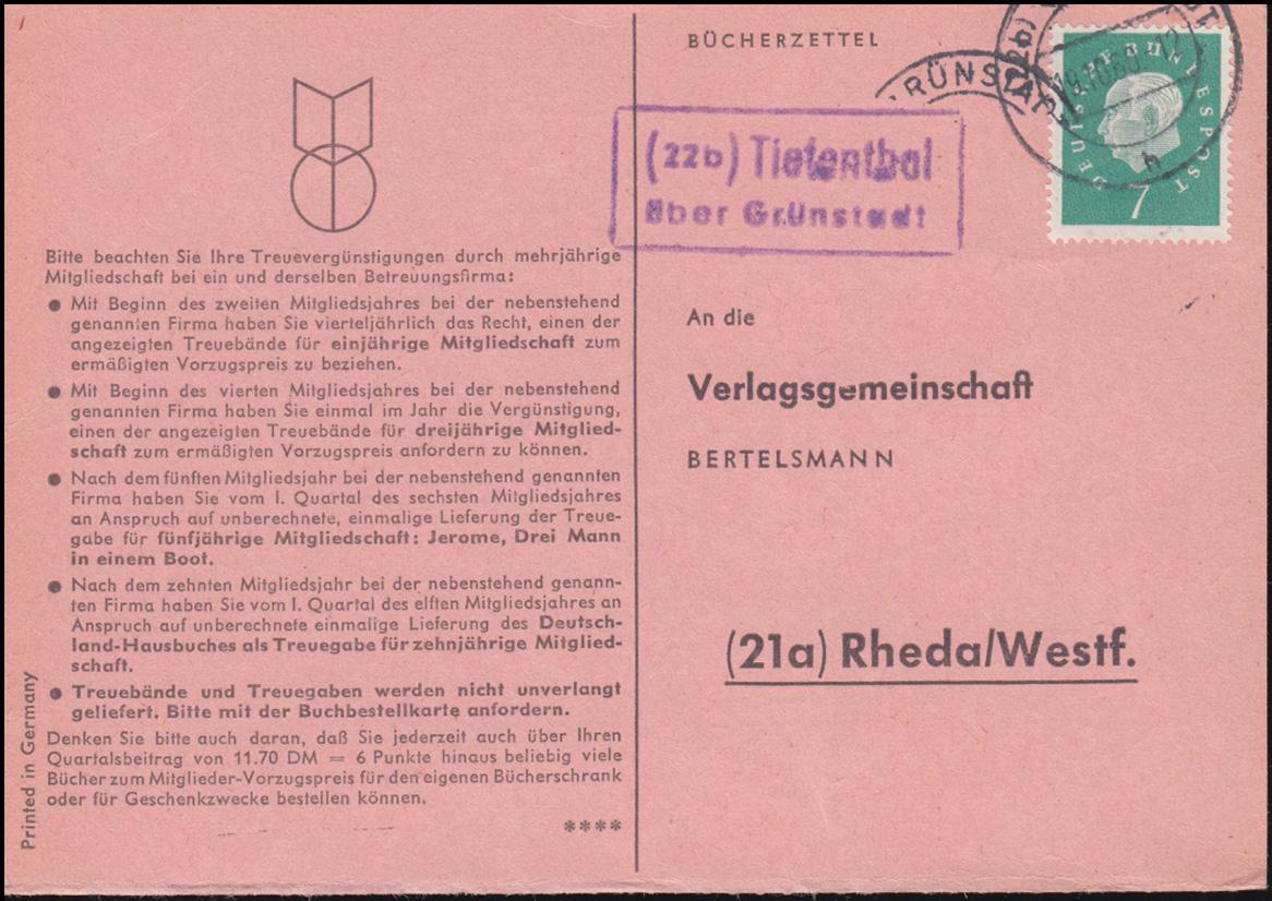 Landpost Tiefenthal über GRÜNSTADT 19.10.1960 auf Bücherzettel nach Rheda/Westf. 0