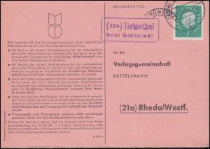 Landpost Tiefenthal über GRÜNSTADT 19.10.1960 auf Bücherzettel nach Rheda/Westf.