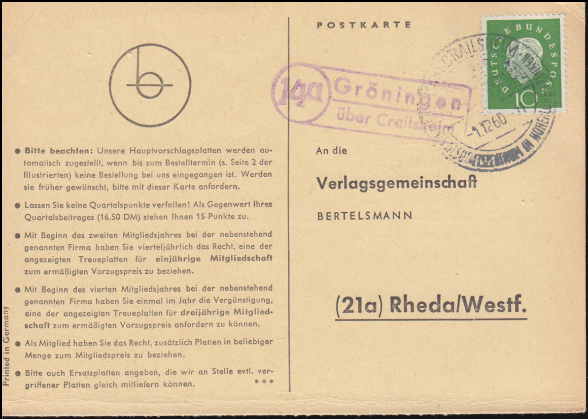 Landpost Gröningen über Crailsheim auf Postkarte SSt CRAILSHEIM 1.12.1960 0
