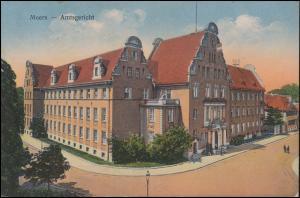 Ansichtskarte Moers Amtsgericht, Stempel Belgische Militärbesetzung 19.4.1924