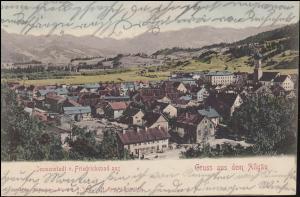 Ansichtskarte Gruss aus dem Allgäu: Immenstadt von Friedrichsbad aus, 6.8.1901