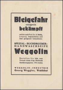 Firma Weggolin: Buchbinder-Handwaschseife gegen Bleigefahr, WALDSHUT 27.11.28