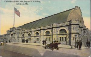 USA-Ansichtskarte Baltimore / Md. Convention Hall 5th Regiment Armory, befördert