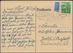 Landpost Denstorf über BRAUNSCHWEIG 30.12.1949 auf Postkarte nach Zerbst/Anhalt