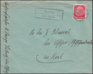 Landpost Zeicha über OSCHATZ 11.3.1937 auf Brief nach Kiel-Wyk