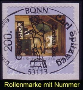 2648 Spitzweg sk, mit Nummer, Erstverwendungsstempel Bonn