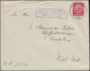 Landpost Sprottischwaldau über SPROTTAU 9.4.1937 auf Brief nach Kiel-Wyk