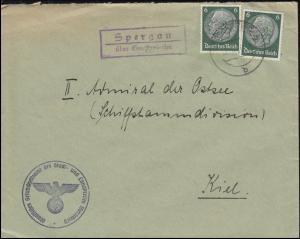 Landpost Spargau über GROSSKORBETHA um 1935/1940 auf Brief nach Kiel