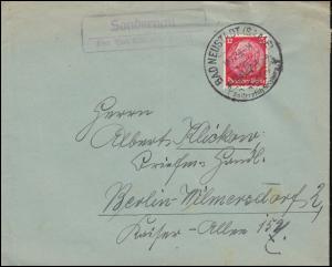 Landpost Sondernau über Bad Neustadt (Saale) auf Brief SSt BAD NEUSTADT 18.11.39