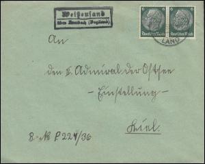 Landpost Weißensand über Auerbach (Vogtland) auf Brief AUERBACH LAND 31.3.1937