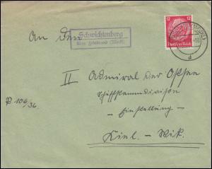 Landpost Schwichtenberg über FRIEDLAND (MECKL.) 27.3.37 auf Brief nach Kiel-Wyk