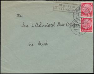 Landpost Marsow über SCHLAWE (POMMERN) 8.1.1937 auf Brief nach Kiel-Wyk