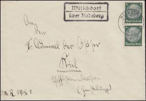 Landpost Wilschdorf über RADEBERG 31.5.1937 auf Brief nach Kiel-Wyk