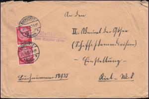 Landpost Wellheim über EICHSTÄTT (Bayern) 28.12.1936 nach Kiel Wyk
