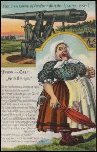 Gelsenkirchen Hbf 10144 - 2.3.38 Humor-AK Gruss aus Essen Krupp Grob Geschütz