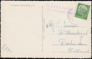 Landpost Woffelsbach über MONSCHAU 17.8.1962 auf passender Ansichtskarte