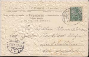 Bahnpost EILSLEBEN-NEUHALDENSLEBEN ZUG 2 - 23.12.1091 Textil-Prägekarte