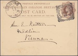 Großbritannien Postkarte P 14 aus MARKET-HARBOROUGH 19.12.89 nach MÖDLING 22.12.