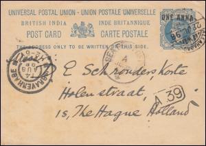 Seepost SEA POST OFFICE A 30.7.1898 Postkarte Britisch Indien ALLAHABAD 28.7.98