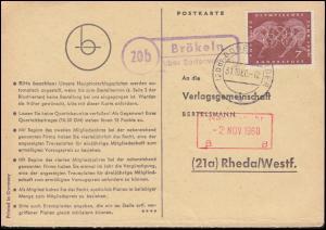 Landpost Brökeln über BODENWERDER 31.10.1960 auf Postkarte nach Rheda/Westf.