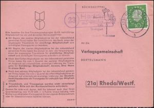 Landpost Haddien über WILHELMSHAVEN 1.11.1960 auf Bücherzettel nach Rheda/Westf.