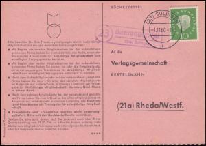 Landpost Bahrenborstel über SULINGEN 1.11.1960 auf Bücherzettel nach Rheda/Westf