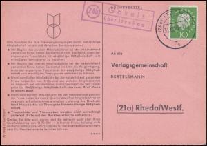 Landpost Gokels über ITZEHOE 31.10.1960 auf Bücherzettel nach Rheda/Westf.