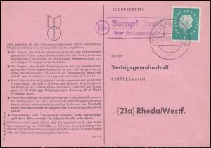 Landpost Sumpfohren über DONAUESCHINGEN 6.10.1960 auf Bücherzettel nach Rheda
