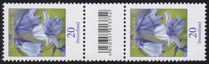 3315 Blume 20 Cent aus 200er-Rolle, Paar mit Nummer, Codierfeld, ohne Nummer **