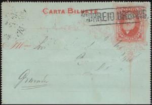 Brasilien Kartenbrief 50 Reis rot nach RIO DE JANEIRO 13.5.1887