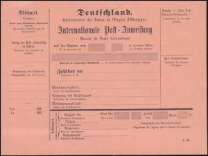 Deutsches Reich Int. Postanweisung um 1880, Druckvermerk A.24, ungebraucht **