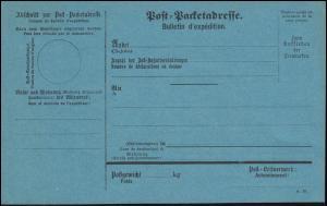 Deutsches Reich Auslands-Packetkarte in Blau, Druckvermerk A.20, ungebraucht **