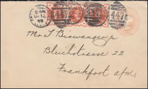 Großbritannien Umschlag 1 Penny mit 86 als Dreierstreifen, LEEDS 12.12.1898