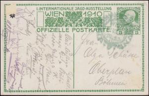 Österreich Sonderpostkarte Internationale Jagd-Ausstellung 1910 grüner SSt WIEN