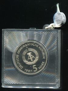 DDR Gedenkmünze Nikolaiviertel 1987, Spiegelglanz PP in verplombter Kapsel
