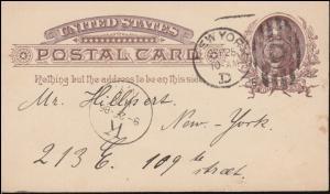 USA Postkarte Präsident 1 Cent braun als Orts-Postkarte NEW YORK 25.9.1886