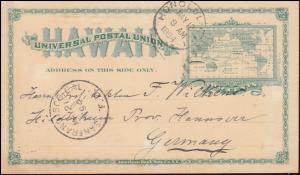 USA Hawaii Postkarte Landkarte 2 Cent grün, HONOLULU 12.5.1894 nach Deutschland