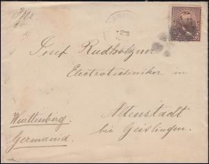 USA 65 Präsident Ulysses S. Grant Brief MORRISVILLE 23.12.1892 nach Deutschland