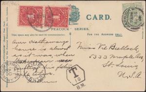 Großbritannien AK Stratford-on-Avon, WARWICK 25.8.1908 mit T- und Nachporto-O