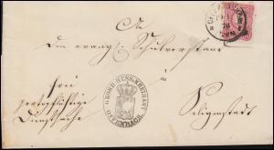 33 Ziffer 10 Pfennige auf Dienstbrief Einkreisstempel OFFENBACH 19.1.1876