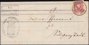 33 Ziffer 10 Pfennige auf Dienstbrief Einkreisstempel DARMSTADT 1 - 12.1.1880