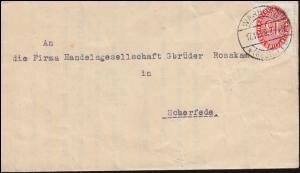 Dienstmarke 118 Strohhut 15 Pf Brief Amtsgericht WARBURG 17.11.28 nach Scherfede