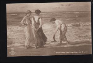 Künstler-Ansichtskarte Knud Larsen: Junge Mädchen am Strand, gelaufen 1917