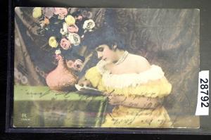Künstler-Ansichtskarte Lesende Frau Bahnpost Stargard 1907