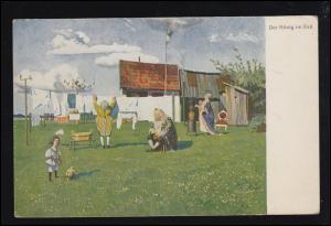 Künstler-Ansichtskarte Eugen Kirchner: Der König im Exil, Feldpost 1917