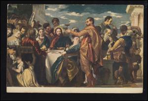 Künstler-Ansichtskarte Paola Veronese: Die Hochzeit zu Cana, gelaufen 1961