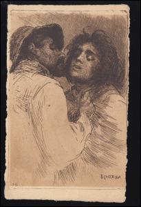 Künstler-Ansichtskarte Basilio Cascella: Zwei Streitende, ungebraucht *