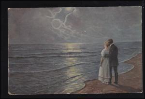 Künstler-Ansichtskarte Dänische Kunst L. Moegelgaard Im Mondschein, gelaufen