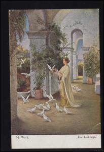 Künstler-Ansichtskarte H. Wolff: Ihre Lieblinge / Frau mit Tauben, gelaufen 1918